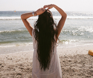 beach, girl, and hair extensions image