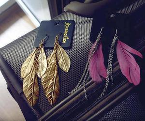 earrings, feather, and gold image