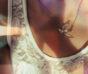bird, necklace, and lace image
