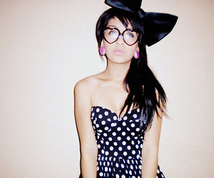 girl, bow, and glasses image