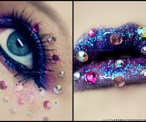 lips, eyes, and glitter image