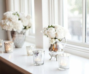 flowers, white, and candle image