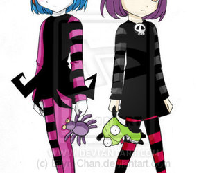 colored hair, gir, and Invader Zim image