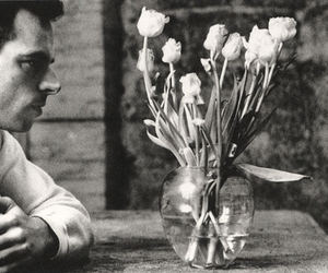 black and white, duane michals, and flower image