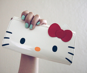 hello kitty, nails, and bag image