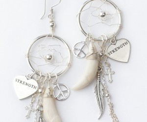 dreamcatcher, earings, and earrings image