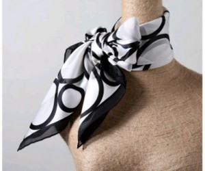 silk scarf, black white scarf, and bubble silk scarves image
