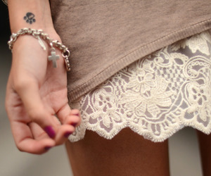 fashion, cross bracelet, and outfit image