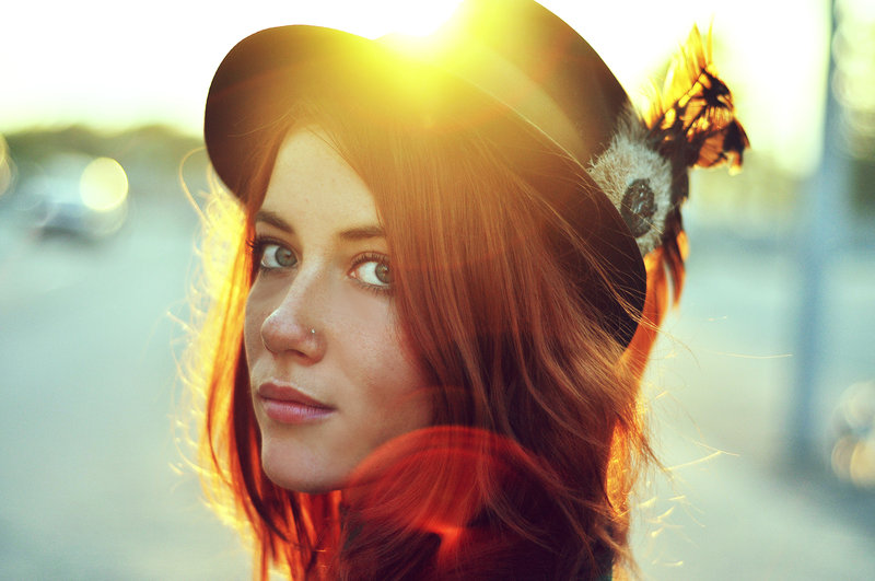 girl, hat, and light image