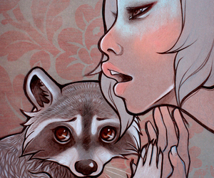 girl, illustration, and racoon image