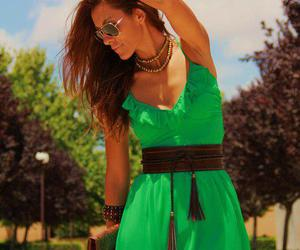 fashion, green dress, and summer image