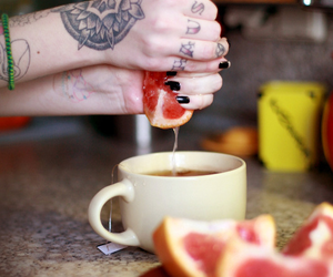 tattoo, fruit, and hands image