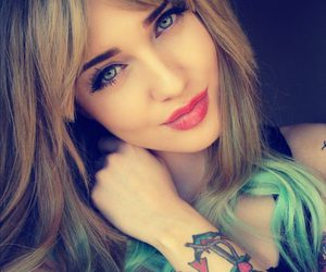 color hair, lipstick, and tattoo image