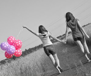 friends, girl, and balloons image