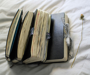 book, diary, and flowers image