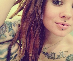 piercing, tattoo, and girl image