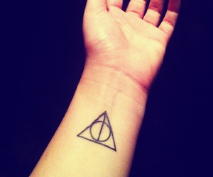 deathly hallows, dumbledore, and harry potter image
