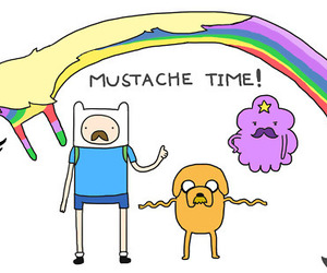 mustache, adventure time, and finn image