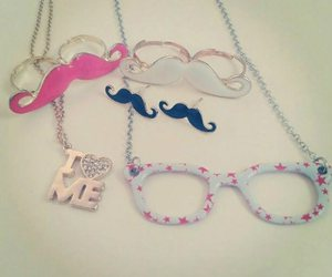 necklace, pink, and glasses image
