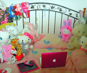 bed, laptop, and pink image