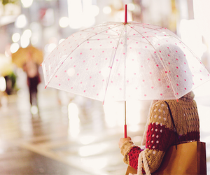 girl, rain, and umbrella image