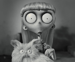 cat, frankenweenie, and black and white image