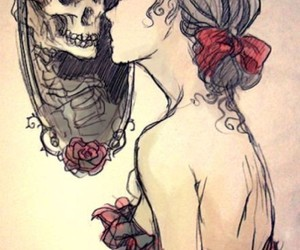 bow, corset, and skull image
