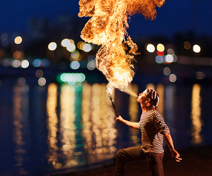 fire, photography, and boy image