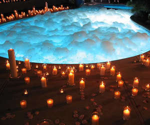candle, pool, and romantic image