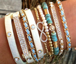 bracelet, blue, and girly image