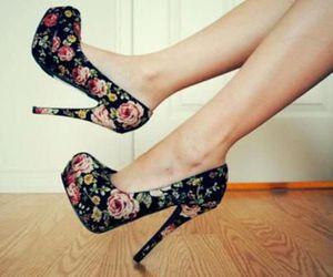 heels, high heels, and roses image