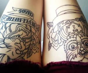 tattoo, legs, and owl image