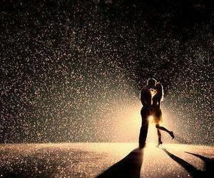 love, rain, and kiss image