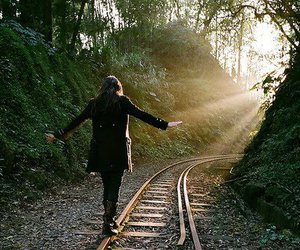 girl, train, and nature image