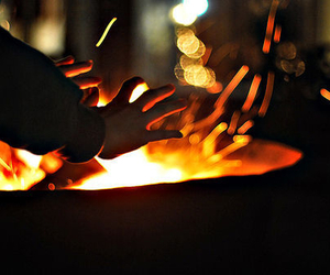 fire, photography, and hands image