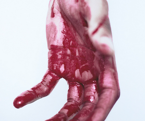 blood, hand, and black and white image