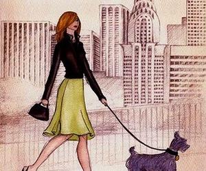 new york, girl, and dog image