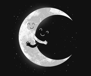 moon, night, and hug image
