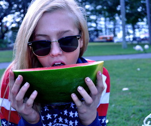girl, blonde, and watermelon image