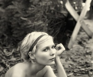 Kirsten Dunst and black and white image