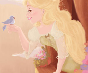 bird, blond, and flowers image