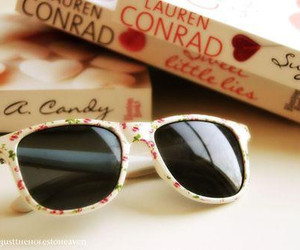 sunglasses, book, and lauren conrad image