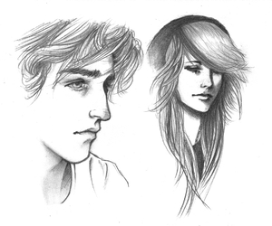 black and white, couple, and draw image