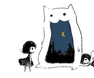 anime, cat, and girl image