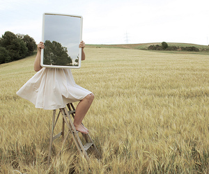 mirror, field, and nature image