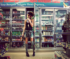 girl, fashion, and supermarket image