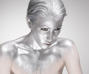 art, silver, and bodypaint image