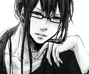 anime, glasses, and long hair image
