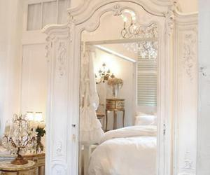 white, mirror, and bedroom image