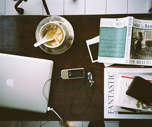 book, apple, and coffee image